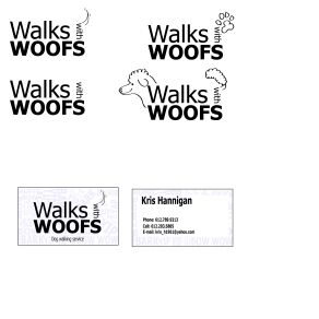 Walks With Woofs Business Card and Logo Design